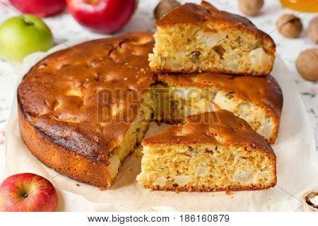 Honey walnut apple pie on kitchen table