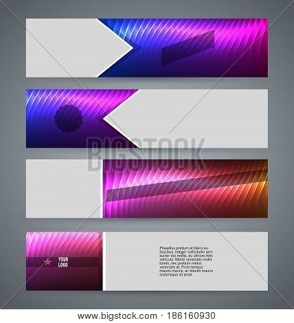 Horizontal Web Banner Background Blue Purple Neon Effect14