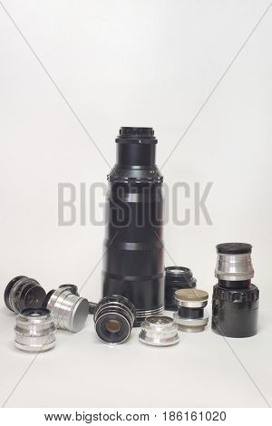 Set Of Vintage Lenses For Different Types Of Shooting