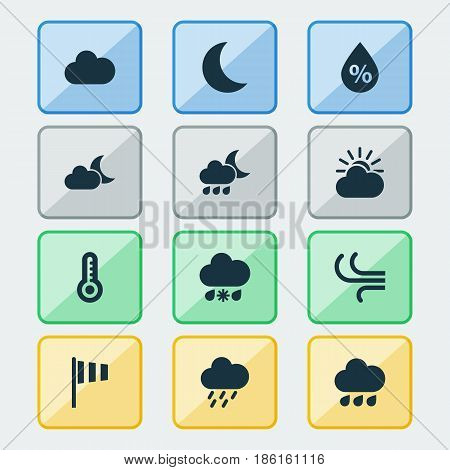 Weather Icons Set. Collection Of Rainy, Sun-Cloud, Douche And Other Elements. Also Includes Symbols Such As Cold, Nightly, Night.
