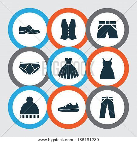 Garment Icons Set. Collection Of Dress, Pants, Sneakers And Other Elements. Also Includes Symbols Such As Cloth, Footwear, Shoes.