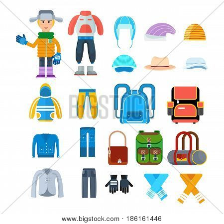 Create a character. Clothes for children in cold weather. The boy, dressed in warm, diverse clothes, is fully prepared for the cold weather. Colorful flat illustration isolated on white background.