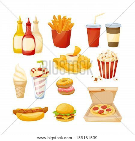 A set of delicious food, sauces and drinks from fast food. Cooking collection background fast food. Modern vector illustration isolated on white background.