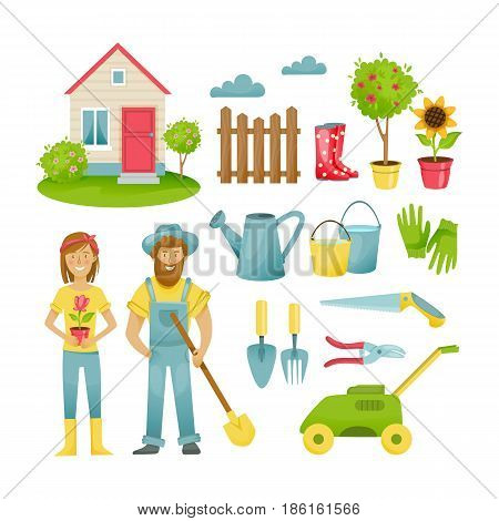 Garden elements. Eco farm with farmers near field with barns and hay. People with organic or natural food near fence or spade, agrarian worker profession. Vector illustration isolated.