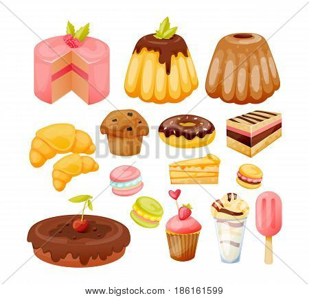 Cakes, pies and desserts. A set of various sweets, delicious, beautiful pastries and desserts. Modern vector illustration isolated on white background.