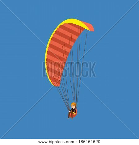 Air vehicles. Man flying with a parachute. Young man paragliding on a parachute. Parachutist descending with a parachute. Modern vector illustration isolated on white background.