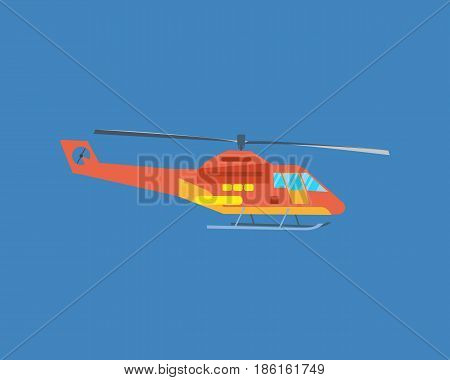 Air vehicles. Modern helicopter for passenger transportation. Vector illustration isolated on white background.