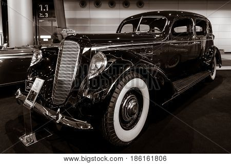 STUTTGART GERMANY - MARCH 02 2017: Luxury car Lincoln Model K 1937. Stylization. Toning. Europe's greatest classic car exhibition