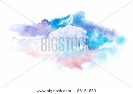 Watercolor illustration of twilight sky with cloud. Artistic natural painting abstract background.