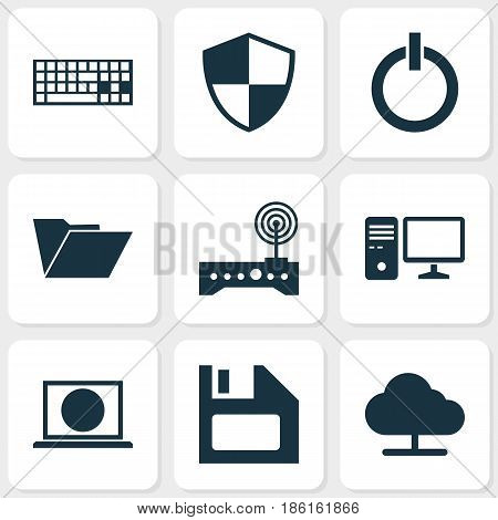 Computer Icons Set. Collection Of Power On, Dossier, Defense And Other Elements. Also Includes Symbols Such As Modem, Power, Computer.