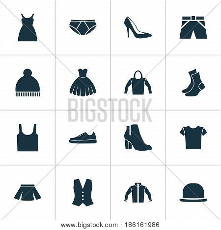 Dress Icons Set. Collection Of Casual, Panama, Trunks Cloth And Other Elements. Also Includes Symbols Such As Dress, Boots, Waistcoat.
