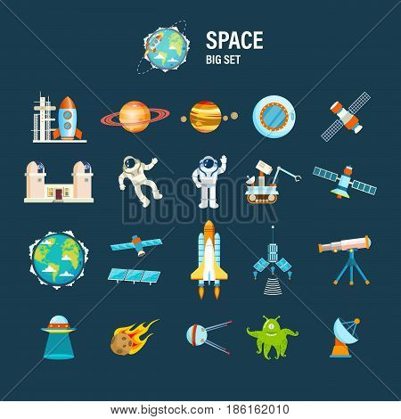 Cosmos and space set concept. Big set on space theme, including a transport, planets and related objects, satellites, instruments for tracking the cosmos. Vector illustration isolated