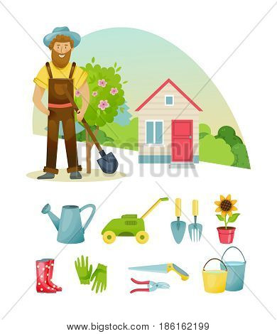 Garden elements. Farmer elements, farmer in the suburban area, materials, clothing, equipment and equipment for work. Vector illustration isolated on white background in cartoon style.