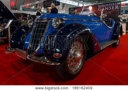STUTTGART GERMANY - MARCH 02 2017: Sports car Wanderer W25K Roadster 1936. Europe's greatest classic car exhibition