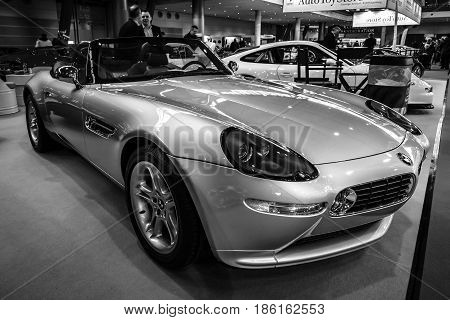STUTTGART GERMANY - MARCH 02 2017: Sports car BMW Z8 2001. Black and white. Europe's greatest classic car exhibition