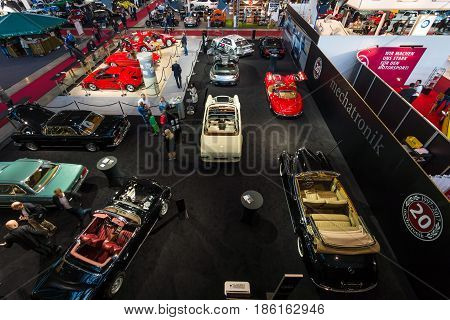 STUTTGART GERMANY - MARCH 02 2017: Exhibition pavilion with various retro cars. View from above. Europe's greatest classic car exhibition