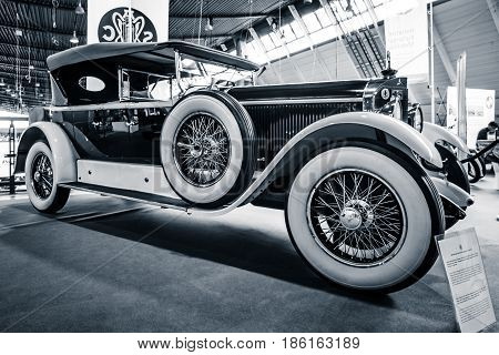 STUTTGART GERMANY - MARCH 02 2017: Luxury car Mercedes-Benz 24/100/140 PS Fleetwood D / USA 1924. Toning. Stylization. Europe's greatest classic car exhibition