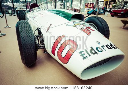 STUTTGART GERMANY - MARCH 02 2017: Racing car Maserati 420M Eldorado 1958. Vintage toning. Europe's greatest classic car exhibition
