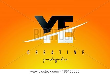 Ye Y E Letter Modern Logo Design With Yellow Background And Swoosh.