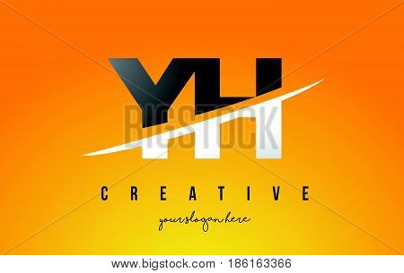 Yh Y H Letter Modern Logo Design With Yellow Background And Swoosh.