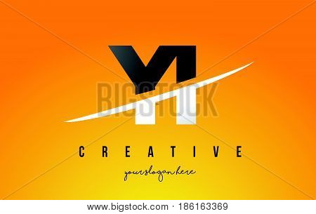 Yi Y I Letter Modern Logo Design With Yellow Background And Swoosh.
