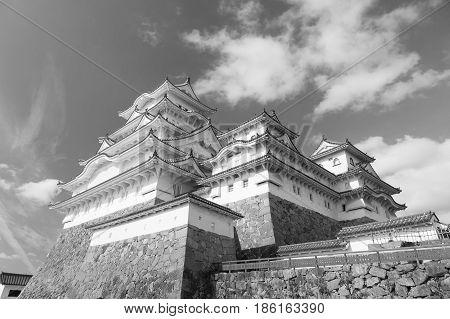 Himeji castle Kansai Japan historic landmark black and white tone