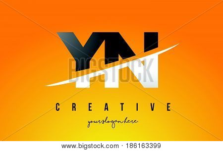 Yn Y N Letter Modern Logo Design With Yellow Background And Swoosh.