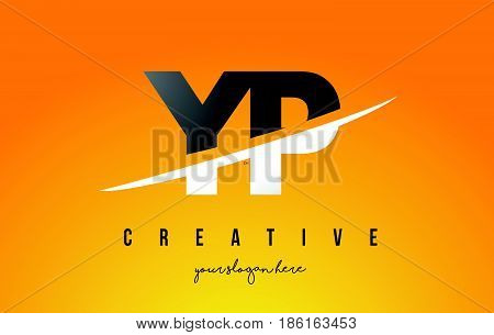 Yp Y P Letter Modern Logo Design With Yellow Background And Swoosh.
