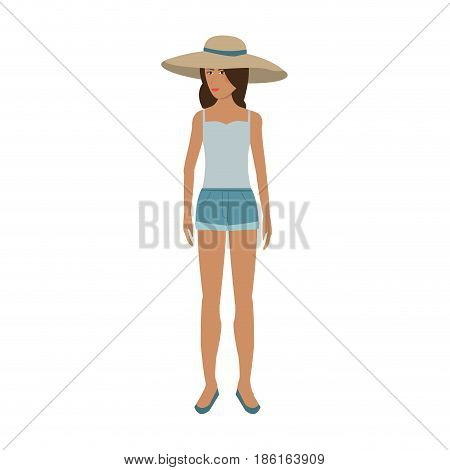 pretty happy woman wearing big sun hat tank top and shorts  icon image vector illustration design