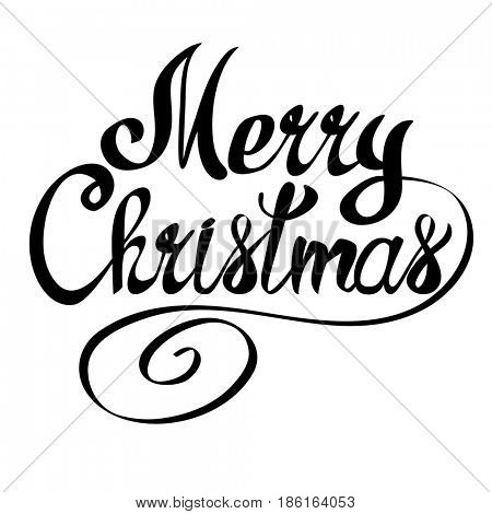 Merry Christmas lettering text. Xmas calligraphic design gift card, banner, poster.