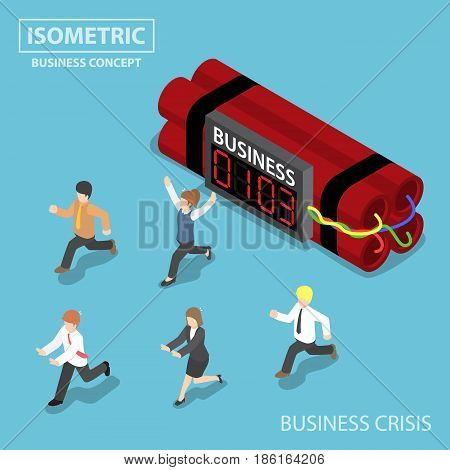 Isometric Businessman Run Away From Business Timer Bomb