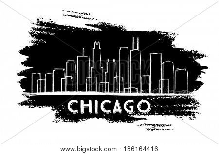 Chicago Skyline Silhouette. Hand Drawn Sketch. Business Travel and Tourism Concept with Historic Architecture. Image for Presentation Banner Placard and Web Site.