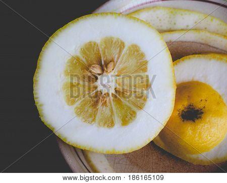 Citron Citrus Fruit, Faded Vintage Look