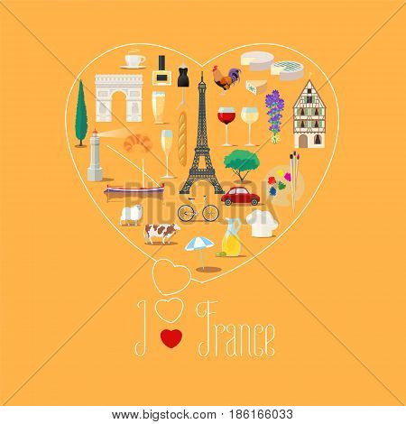 Heart shape illustration with I love France text. French landmarks food fashion vector icons. Travel to France concept poster