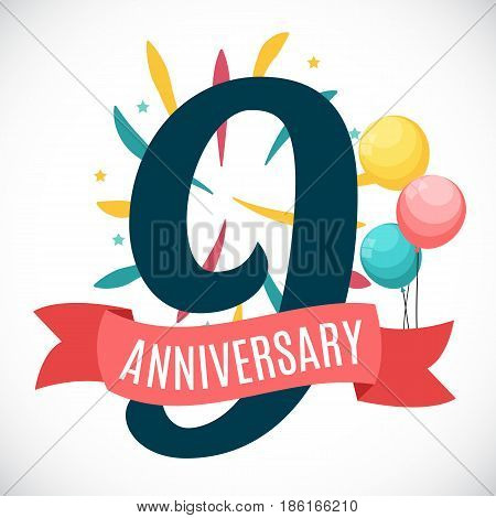 Anniversary 9 Years Template with Ribbon Vector Illustration EPS10