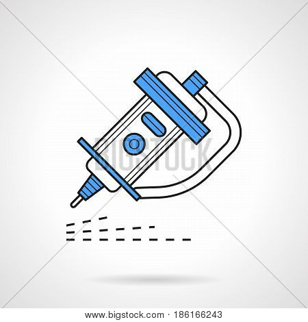 Symbol of laser with hose for CO2 cutting and processing of different materials and surfaces. Industrial technology. Flat outline vector icon with blue.