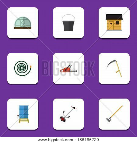 Flat  Set Of Hacksaw, Tool, Cutter And Other Vector Objects. Also Includes Stabling, Water, Hose Elements.