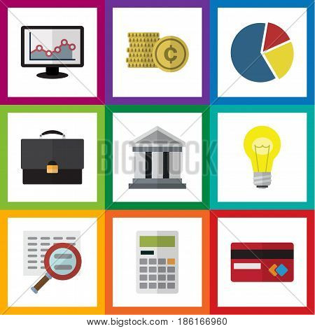 Flat Exchequer Set Of Portfolio, Graph, Bank And Other Vector Objects. Also Includes Search, Light, Bar Elements.