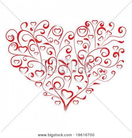 Stylized heart on white background