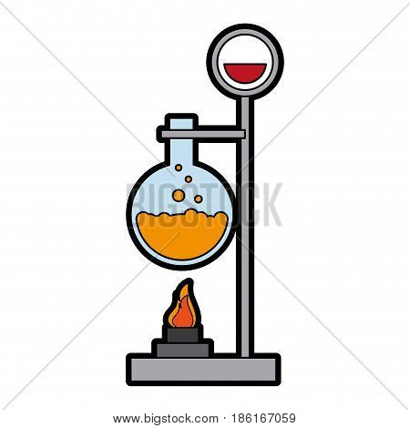 test tube with bunsen burner icon image vector illustration design