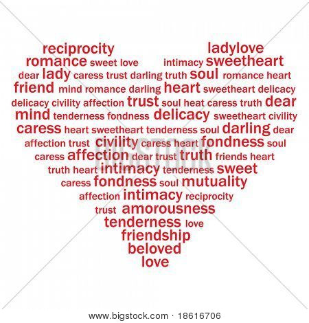 Valentine heart from sweet love words