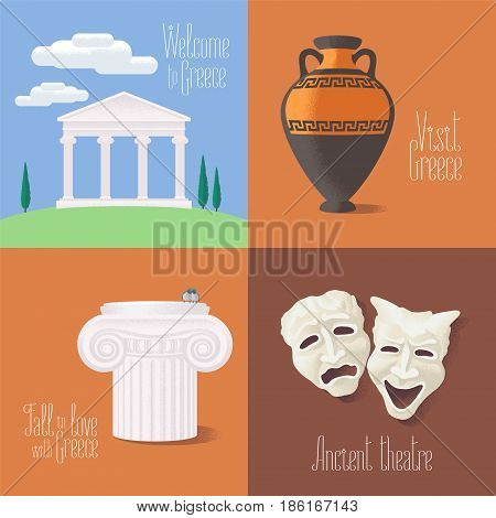 Set of vector illustrations with Greek touristic atractions: ancient ruins theatre masks amphora. Clip-art designs for visit Greece concept
