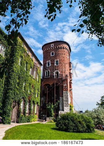 Sandomierska Tower at Wawel castle, Krakow, Poland. Part of royal castle fortification.