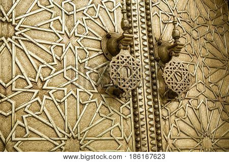 Highly detailed image of Ancient doors in Morocco