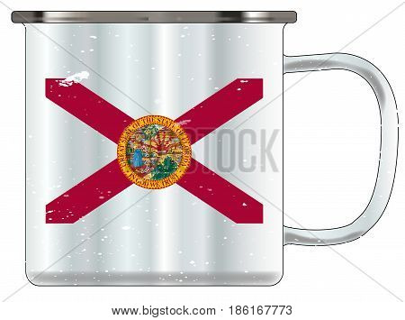 A typical blue coloured tin cup with white mottle FX over a white background and the florida flag