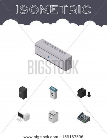 Isometric Work Set Of Computer, Wall Cooler, Strongbox And Other Vector Objects. Also Includes Scanner, Conditioner, Telefax Elements.