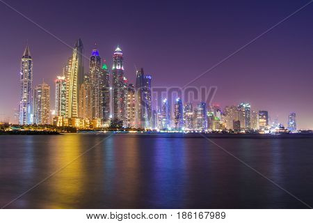 Dubai Marina Skyline shot from Palm Jumeriah