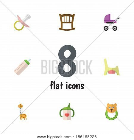 Flat Kid Set Of Feeder, Nursing Bottle, Infant Cot And Other Vector Objects. Also Includes Potty, Nursing, Baby Elements.
