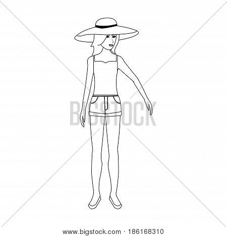 pretty happy woman wearing big sun hat tank top and shorts  icon image vector illustration design  single black line