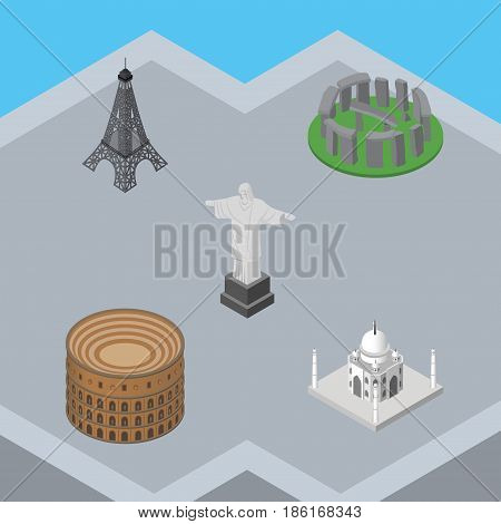 Isometric Travel Set Of Coliseum, India Mosque, Rio And Other Vector Objects. Also Includes England, Christ, Paris Elements.